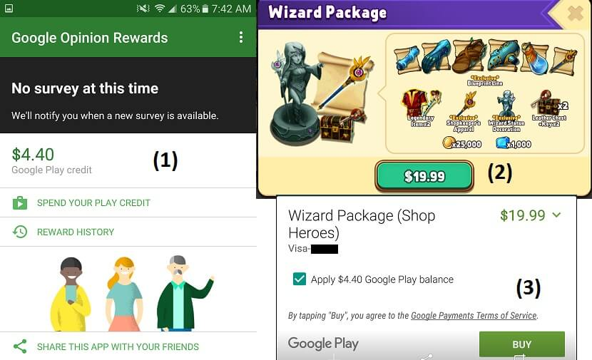 Sign Up for Google Play Opinions (Premium Currency)