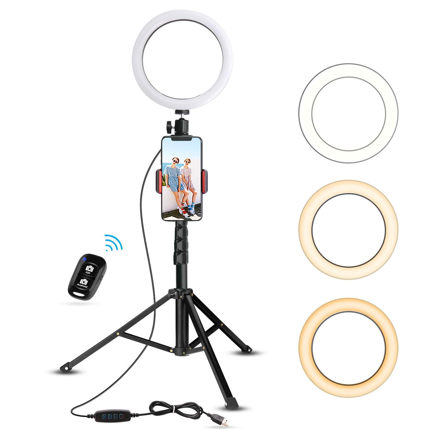 LED Ring Light With Clamp For iPhone Selfie Makeup Photography Video Live Stream