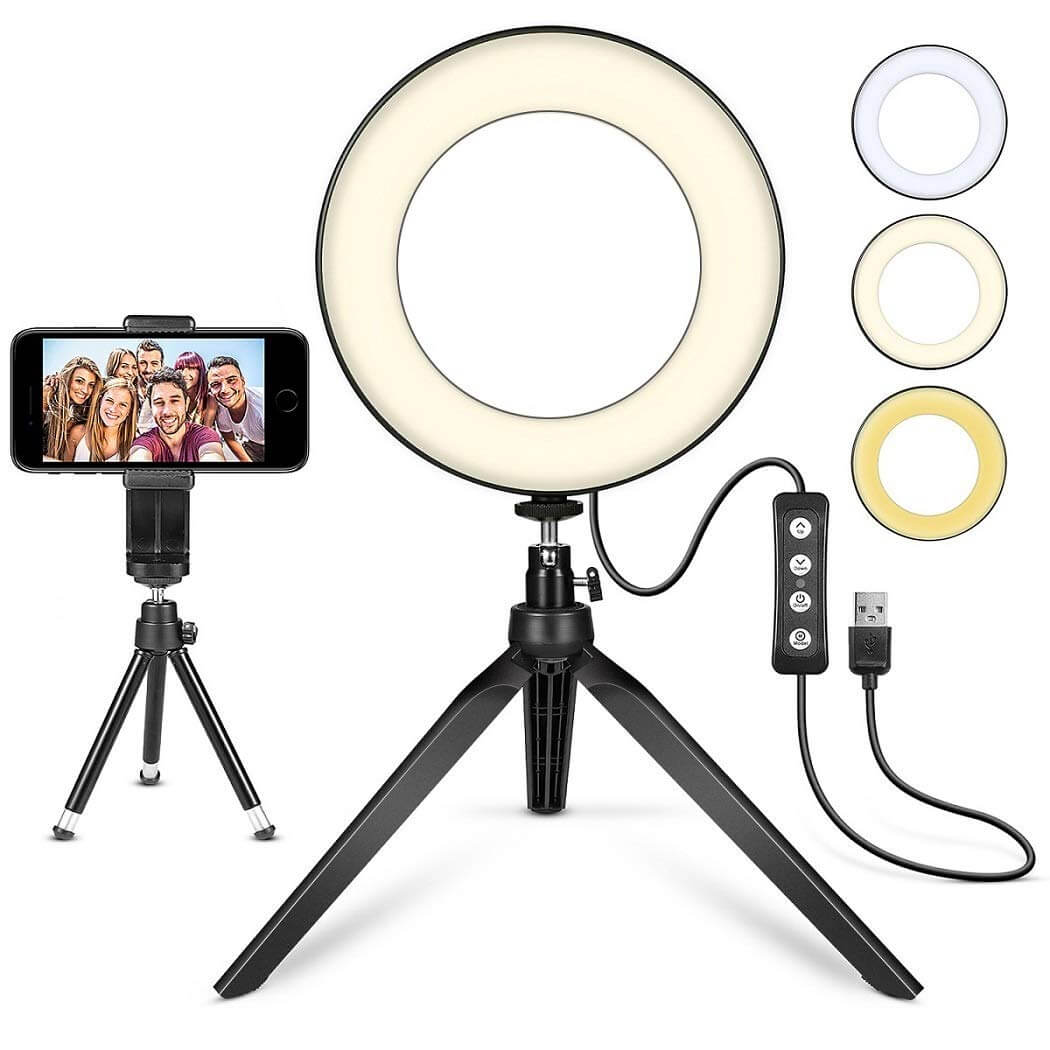"""LED Ring Light 6"""" with Tripod Stand for YouTube Video and Makeup"""